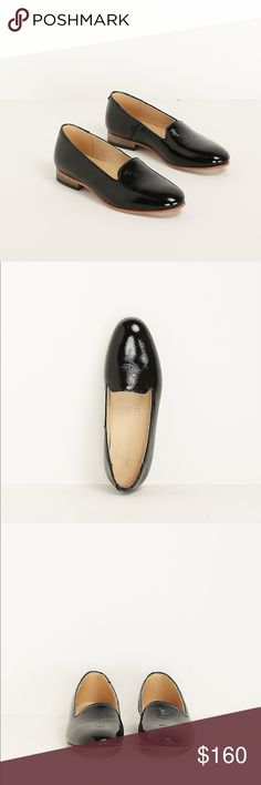 """Dieppa Restrepo Crackle Black Dandy Derby Dieppa Restrepo patent leather slip-on derby in black with a rounded toe in a rolled leather finish. 0.75"""" heel in stacked tobacco wood with heel plate in ridged black rubber and sole in tan leather. Tan leather insole. Slip on style. I am an 8.5 and thought they ran small, but they are true-to-size and a little bit too big for me. They have never been worn and come in the box.  Handmade in Mexico. This is a sold out style, originally purchased from…"""