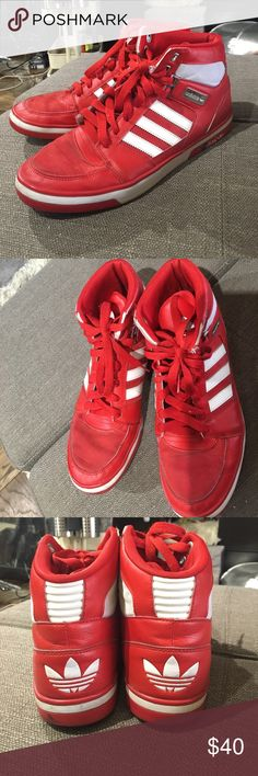 01ff543660 Adidas bright red sneakers high tops men size 10.5