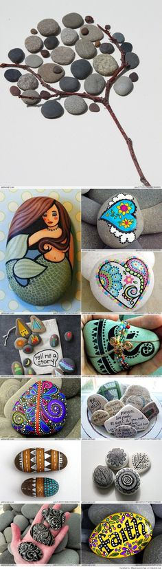 Great ideas for stone art.