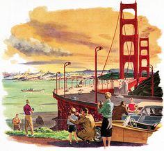 Incluso en ilustraciones, este puente luce majestuoso.   San Francisco (1959), por Roger Wilkerson.