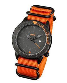 INFANTRY Mens Orange Analog Quartz Wrist Watch Date Display with 5 rings Orange Nylon Band