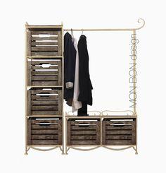 Вешалка напольная (мини гардероб) на 6 ящикиов