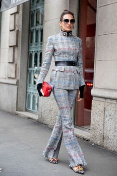 Belted Plaid - Milan Fashion Week's Most Fabulous Street Style, Fall 2018 - Photos #StreetFashionStyle