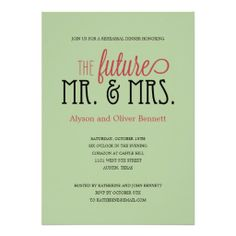 Future Mr and Mrs Rehearsal Dinner /Wedding Shower Personalized Invite