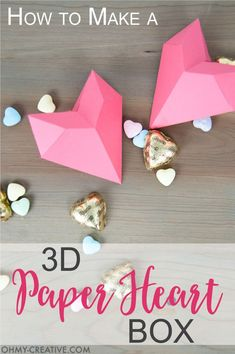 How to make a 3D Paper Heart Box - Paper Valentine | http://OHMY-CREATIVE.COM | Free Printable Valentine | Printable Paper Heart | Origami Heart | Non-candy Valentine | Heart Box | Treat Box | Kids Valentine Ideas | Valentine Gift Ideas