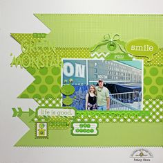 *** Doodlebug Design *** Green 'Monstah' - Scrapbook.com - Use shades of one color to extend the theme of the layout beyond the title and subject matter of the photo.