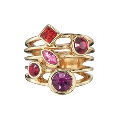 With the illusion of multiple bands, this stone-stacked stunner comes out on top.FEATURES• Openwork design• Embellished with red, pink and fuchsia-colored stones• Combination of round, square and marquis-shaped stonesMATERIALS• Goldtone metal• GlassImported