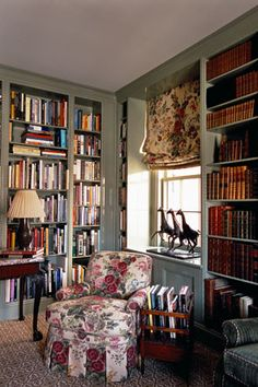 forget about that flowery chintz, but the bookcases are great