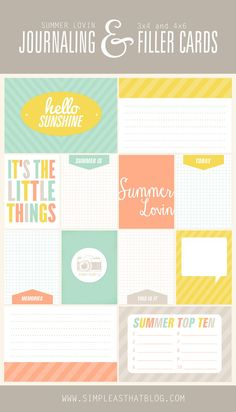 Summer themed Templates + Journaling / Filler Cards. #projectlife #scrapbooking