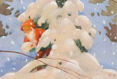 Rudolf Koivu Christmas Tale, Christmas Gnome, Vintage Christmas Cards, Xmas, Fairy Land, Fairy Tales, Fantasy Dwarf, Girl Face Drawing, Baumgarten