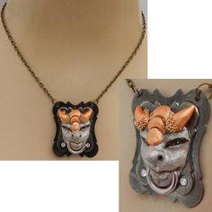 Gargoyle Necklace Door Knocker Pendant Jewelry Handmade NEW Hand Sculpted Polymer Clay Fashion Accessories One of a Kind Artist Original