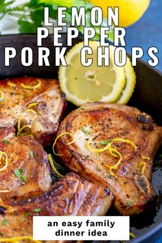 These Lemon Pepper Pork Chops are a quick dinner idea. Ready in under 30 minutes, they make an easy weeknight meal the whole family will love. This easy pork chop recipe involves a few simple seasonings, and you can use boneless or bone-in pork chops. Seasoned with lemon pepper, some olive oil, and a little bit of butter and extra lemon, these pork chops use storecupboard ingredients to make a delicious dinner.