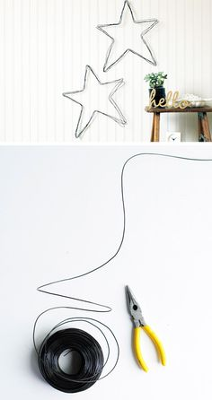 Hardware wire stars. 45 Smart Creative and Beautiful DIY Wall Art Ideas For Your Home