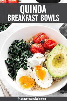 Savory Quinoa Breakfast Bowls - A hearty and healthy breakfast bowl great for breakfast, brunch, or even dinner! #breakfastbowl #breakfast #bowl #healthyrecipes #healthyeating #easyrecipe #breakfast #brunch  #egg #quinoa