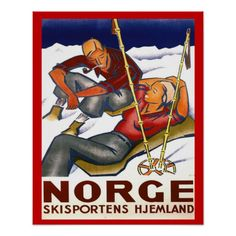 Shop Vintage Winter sports, Norway, Homeland Ski sport Poster created by PigeonPost. Personalize it with photos & text or purchase as is! Vintage Ski, Vintage Poster, Vintage Travel Posters, Vintage Postcards, Ski Posters, Custom Posters, Sports Posters, Design Your Own Poster, Ski Sport
