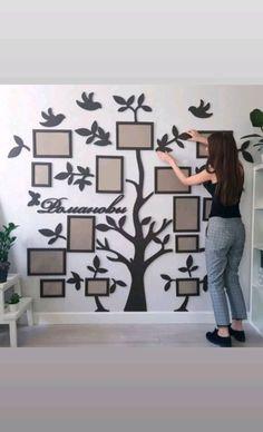 Best Indoor Garden Ideas for 2020 - Modern Mirror Decor Living Room, Family Wall Decor, Tree Wall Decor, Room Wall Decor, Family Collage, Family Tree Frame, Family Trees, Wall Painting Decor, Art Decor