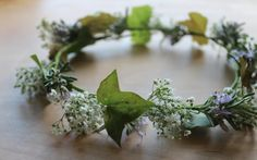rosemary, gypsophila and hedera headdress