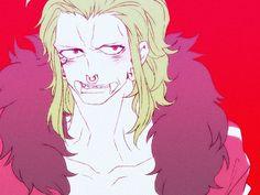 Tags: Anime, ONE PIECE, Red Background, Fangs, Nose Piercing, Shirousagi, Bartolomeo