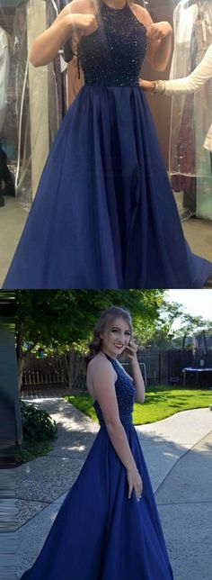 Prom Dress Princess, Elegant navy Blue Prom Dress - Halter Sweep Train Backless with Beading Shop ball gown prom dresses and gowns and become a princess on prom night. prom ball gowns in every size, from juniors to plus size. Pageant Dresses For Teens, 2 Piece Homecoming Dresses, Royal Blue Prom Dresses, Elegant Bridesmaid Dresses, Prom Dress Stores, Prom Dresses 2017, Backless Prom Dresses, Dance Dresses, Blue Dresses