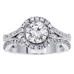 14k/18k White Gold 1 2/5ct TDW Split-Shank Pave-set Halo Diamond Engagement Ring (G-H, SI1-SI2) (18k Gold - Size 4.0), Women's