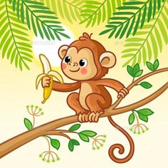 Buy Monkey Sits on a Tree and Eats a Banana by svaga on GraphicRiver. Monkey sits on a tree and eats a banana. Cute animal in cartoon style. Cartoon Cartoon, Cartoon Styles, Cartoon Drawings, Animal Drawings, Cute Cartoon Animals, Art Drawings For Kids, Drawing For Kids, Easy Drawings, Art For Kids