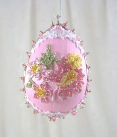 E129 Pink Floral Egg Ornament by WhiteHawkOriginals on Etsy, $20.00