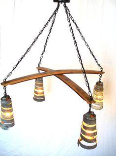 Wine Barrel Ring Hanging Pendant Light Cross Chandelier - 100% RECYCLED from Napa Wine Barrels. $295.00, via Etsy.
