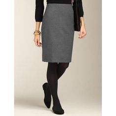 Talbots - Italian Stretch Flannel Pencil Skirt - Carbon Heather