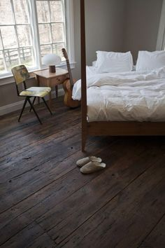 love the reclaimed wood floors