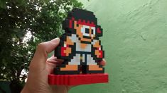 Ryu 8 bits(Street Fighter) pixel art no Pixel Art, 8 Bits, Street Fighter, Geek Stuff, Beads, Personalized Gifts, Made By Hands, Products, Geek Things