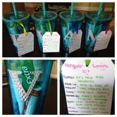 Made these hangover survival kits for the girls going to Vegas for my 21st! I put Tylenol, makeup remover wipes, tums, bandaids, gum, and lotion into a personalized tumbler! I added a cute little list of what's in them!
