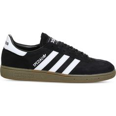 Adidas Handball Spezial suede trainers ($68) ❤ liked on Polyvore featuring men's fashion, men's shoes, men's sneakers, adidas mens sneakers, 80s mens shoes, adidas mens shoes, mens suede sneakers and mens suede shoes