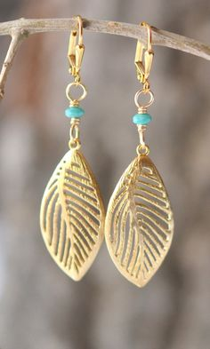 Gold Leaf and Turquoise Dangle Earrings