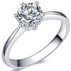 Jude Jewelers Carat Classical Stainless Steel Solitaire Engagement Ring (Silver, - Jewelry World Today Shop Engagement Rings, Solitaire Engagement, Wedding Engagement, Solitaire Ring, Wedding Ring Styles, Wedding Rings, His And Hers Rings, Stainless Steel Rings, Diamond Bands