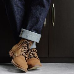 Two for one day because wants me to wear these boondockers more and I just happen to be right now. Show and prove as they say. Cuffed up denim by Pretty sure Ill need to see my friends at for a chainstich hem soon enough. Viberg Boots, Sports Footwear, Running Shoes For Men, Dapper, Men's Shoes, Autumn Fashion, Menswear, Ootd, Shit Happens