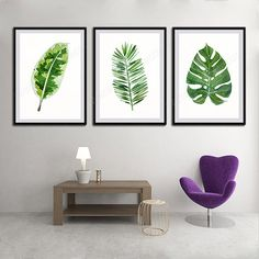 Tropical Leaf Watercolor Art Prints  Set of 3 by watercolordecor