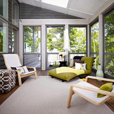 This indoor porch would be perfect for a relaxing summer afternoon!