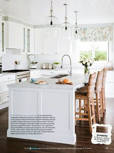 white kitchen Home Beautiful magazine May 2014 issue Kitchen Interior, New Kitchen, Kitchen Dining, Kitchen Decor, Kitchen Ideas, Island Kitchen, Kitchen White, Dining Rooms, Beautiful Kitchens
