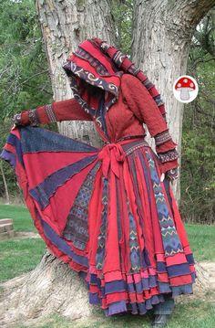 Tapestry Elf Coat Burgundy Navy Medium Large Full Priestess Length Gypsy Patchwork Twirling Jacket Recycled Sweater Fae Fairy Pixie Dress. $420.00, via Etsy.