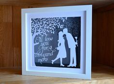 The Kiss  framed papercut  traditional 1st от PrettyPaperPetal
