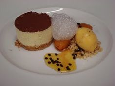 Sweet Cuisine - vanilla cheesecake banana cooked in caramel sous vide, passionfruit sorbet, lime foam