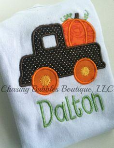 Boys Pumpkin TruckFREE Personalization by ShopChasingBubbles, $18.95