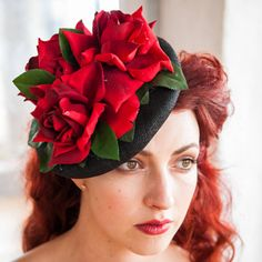 GG's Pin-up Couture Three Roses Fascinator.  #redwedding #wedding #fascinator  Affiliate Link.