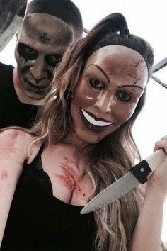 Unisexual Halloween Costume Mask The Purge Mask Scary Couples Halloween Costumes, Best Couples Costumes, Halloween Outfits, Halloween Makeup, Halloween Horror, Halloween Parejas, Fille Gangsta, Halloween Kleidung, Purge Mask