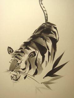年賀状用 虎と竹 : Tiger