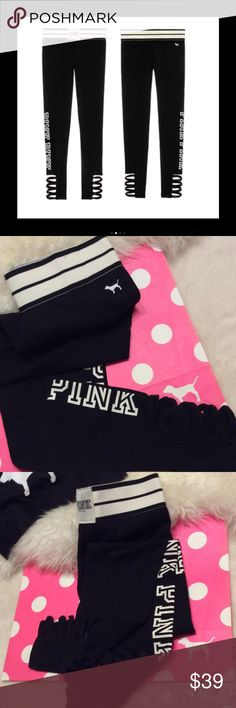 VS PINK Strappy cotton yoga leggings S New in Package. Victoria's Secret Pink true Black Strappy yoga leggings!! Size S.  See other listings, bundle and SAVE!!  PINK Victoria's Secret Pants Leggings