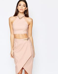 Rare+London+High+Neck+Crop+Top+With+Chain+Detail
