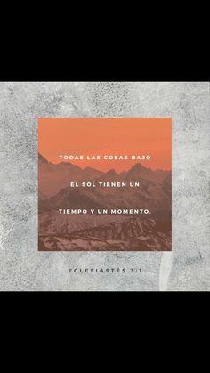 Todo tiene su tiempo, y todo lo que se quiere debajo del cielo tiene su hora. Eclesiastés 3:1 RVR1960.