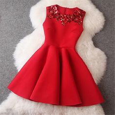 Women Handmade Sequins Mini O-Neck Vintage Little Black Red Pink Party Club Dress