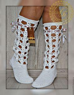 Обувь ручной работы. Ярмарка Мастеров - ручная работа. Купить Летние сапожки  Softness-Синтия. Handmade. Белый, сапожки вязаные